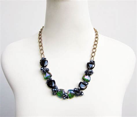 Green Black Glass Fashion Statement Necklace By