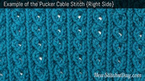 what does right side in knitting exle of the pucker cable stitch right side