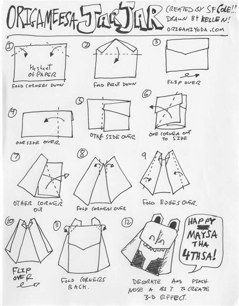 how to fold origami wars characters wars origami a list of diagrams for folding