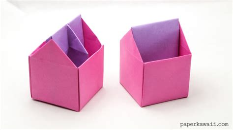 how to make a big origami box origami toolbox pen pot paper kawaii