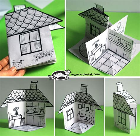 building crafts for krokotak how to make a 3d paper house