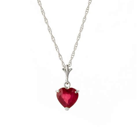 ruby gold necklace ruby pendant necklace 1 45ct in 9ct white gold
