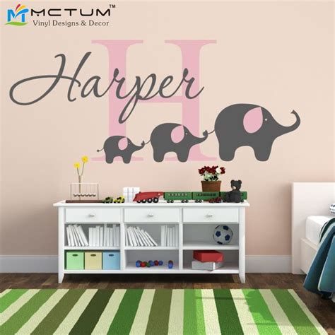 removable wall stickers for baby room removable custom name elephant wall decal nursery baby
