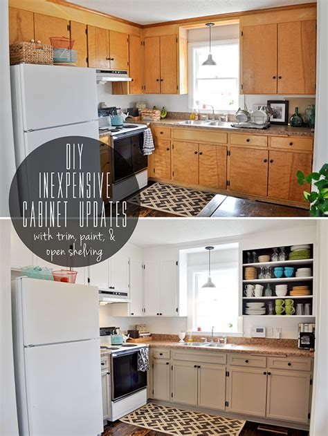 Painted Old Kitchen Cabinets inexpensively update old flat front cabinets by adding