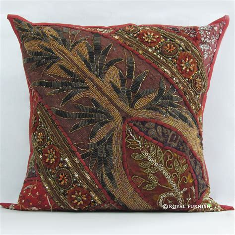 beaded decorative pillows indian beaded embroidered patchwork decorative throw