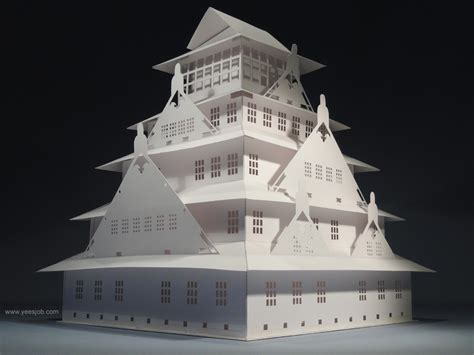 origami castle the osaka castle pop up card kirigami origamic
