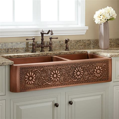 farmhouse copper kitchen sink 42 quot sunflower 60 40 offset bowl copper farmhouse