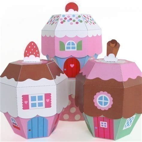 paper craft boxes cupcake cottage favor box printable paper craft