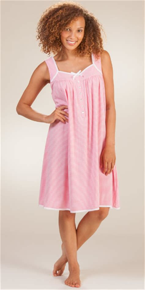 cotton knit nightgowns eileen west gowns cotton knit sleeveless striped