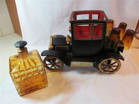 Glass Canisters Kitchen ford model t car decanter liquor holder music box shot