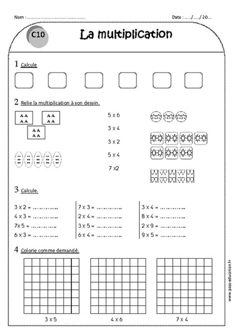multiplication ce1 exercices 224 imprimer pass education