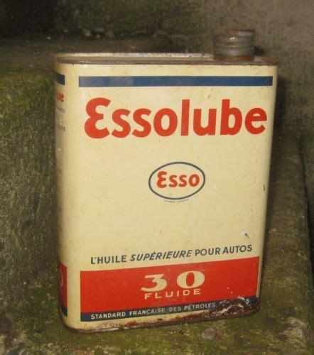 bidon huile ancien essolube 30 fluide can tin tins etc bo 238 tes en