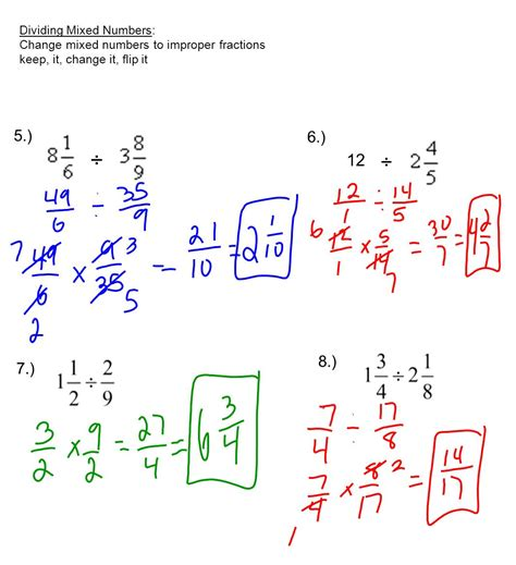 Worksheet Dividing Mixed Numbers Grass Fedjp Worksheet Study Site