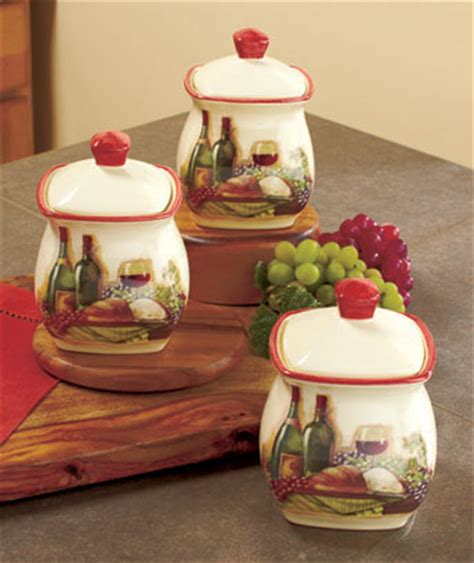3 vineyard canister set wine bottle grape tuscan theme