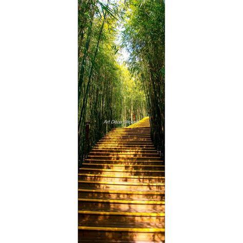affiche poster pour porte trompe l oeil chemin bambous stickers autocollants