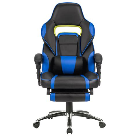 executive racing gaming chair high back reclining faux leather chair w footrest ebay