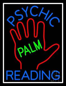 Blue Psychic Reading With Green Palm Neon Sign | Psychic ...