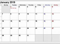 Free January 2019 Printable Calendar Templates Calendar Hour