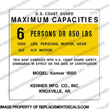 Kenner Boat Decals by Boat Capacity Decals