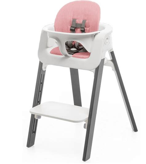 stokke steps chair cushion no tray white grey pink