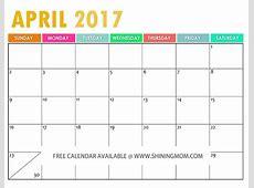 April 2017 Calendar Cute weekly calendar template