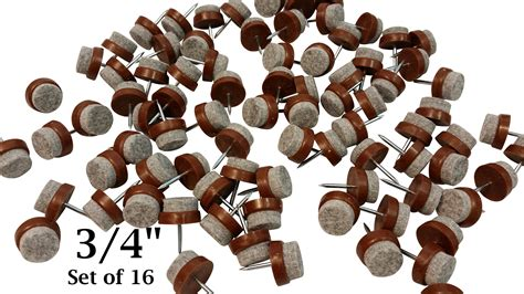 felt bottom nail on chair glides protect tile hardwood floors 3 4 quot set of 16