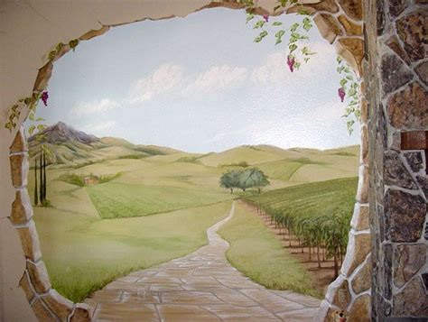 trompe l oeil wall mural for the home