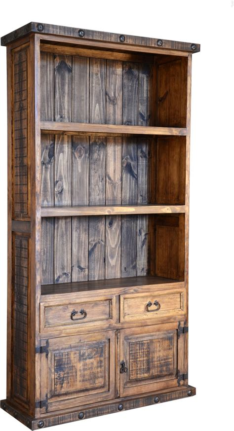 Rustic Bookcase, Pine Wood Bookcase, Bookcase With Cabinets