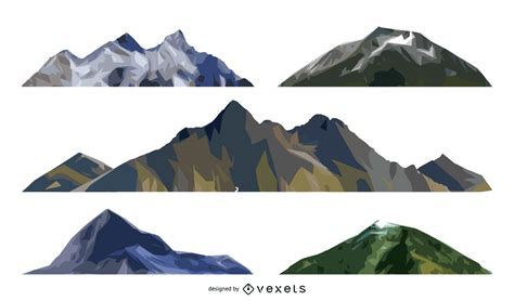 Isolated Mountain Illustration Set  Vector Download
