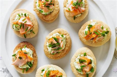 50 and easy canapes smoked salmon and pea vol au vents goodtoknow