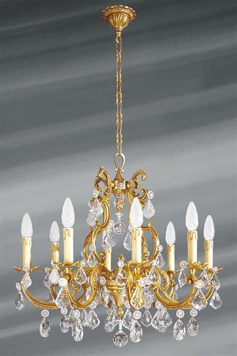 lustre 224 pilles cristal de boh 232 me bronze patin 233 vieil or 8 lumi 232 res lucien gau luminaires