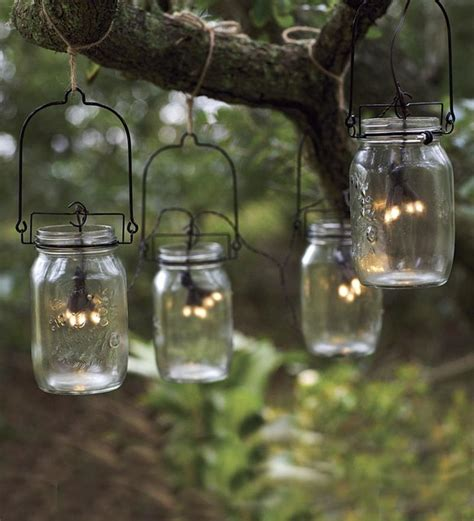 glass jar solar string lights eclectic outdoor