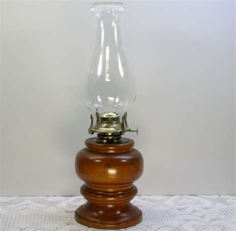 turned wood wooden base kerosene l glass chimney