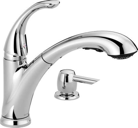 delta 174 pixa pull out kitchen faucet with soap dispenser at menards 174