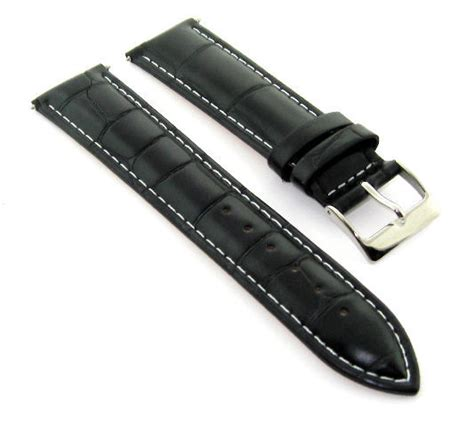 U Boat Watch Replacement Parts by 23mm Leather Watch Band Strap For 48mm U Boat White Stitch