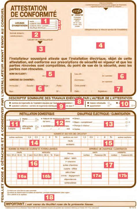 consuel document d attestation de conformit 233 lamaisonboisdenous la maison en bois de mari