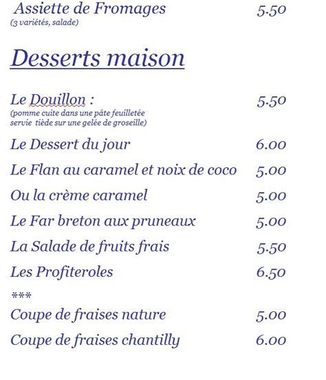 carte des desserts du restaurant les embruns ile aux moines golfe du morbihan
