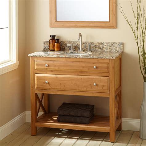 Narrow Depth Bathroom Vanity With Sink by 36 Quot Narrow Depth Castine Bamboo Vanity For Undermount Sink