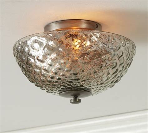 hobnail mercury glass flushmount traditional ceiling lighting by pottery barn