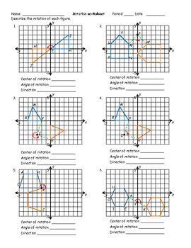 Rotation Worksheet By Math Monkey  Teachers Pay Teachers