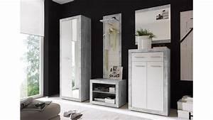 Garderoben Set Grau : garderobe stone in beton optik grau und wei glanz inkl spiegel 5 tlg ~ Markanthonyermac.com Haus und Dekorationen