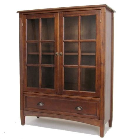 1 Shelf Barrister Bookcase With Glass Door In Brown 9122