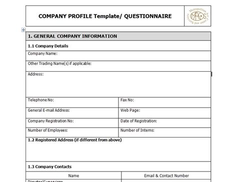 Sample Of Business Company Profile Template