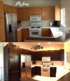 how to gel stain your kitchen cabinets stained cabinets