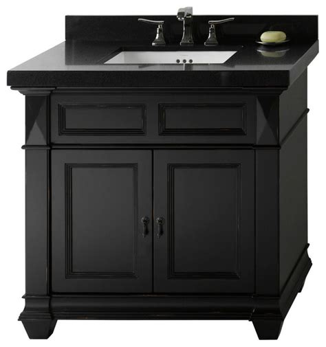 ronbow torino solid wood 36 quot vanity cabinet base antique black traditional bathroom
