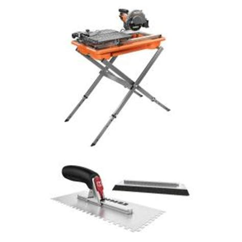 ridgid 7 in tile saw with stand and hart tatch