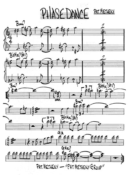 ноты джазового стандарта phase by pat metheny
