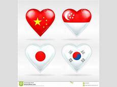 China, Singapore, Japan, And South Korea Heart Flag Set Of