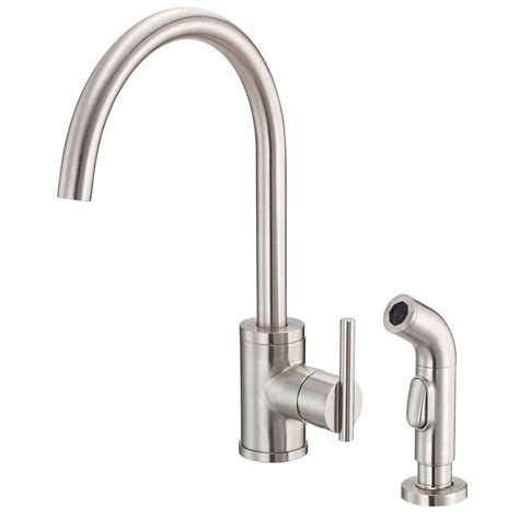 danze parma side mount single handle side sprayer kitchen faucet in stainless steel d401558ss