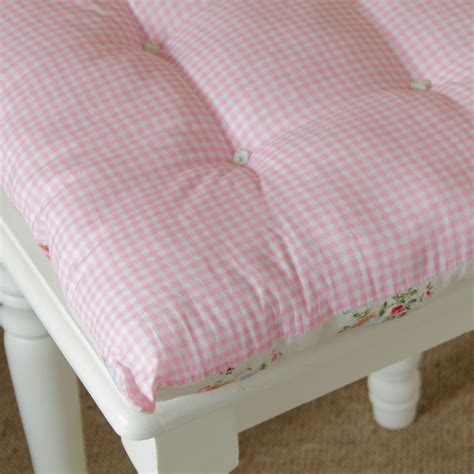 gingham pink vintage chic seat pad chair dining room cottage shabby cushion ebay